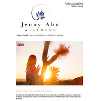 Jenny Ahn Wellness email promo featuring portrait by Elena Ray.
