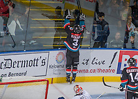KELOWNA, CANADA, OCTOBER 16 - Riley Stadel #3 of the Kelowna Rockets celebrates a hat trick against the Lethbridge Hurricanes on Wednesday, October 16, 2013 at Prospera Place in Kelowna, British Columbia (photo by Marissa Baecker/Getty Images)***Local Caption***