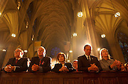 From Left: Mayor Giuliani, Peter Vallone, Vallone's wife, Thomas Van Esson, Gov. Pataki and his wife Libby all pray at St. Patrick's Cathedral during a mass held by Cardinal Egan in Manhattan, NY, 9/16/2001. Photo by Jennifer S. Altman