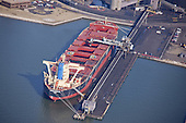 Aerial Photography of the United Adventure  Vessel at the CNX  Terminal in Baltimore