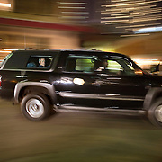 President Bush rides through New Orleans, Louisiana in his armored vehicle Monday, August 28, 2006...Photo by Khue Bui