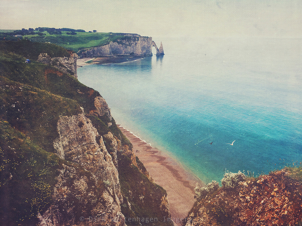 View of Etretat bay and chalk cliffs, Normandie, France