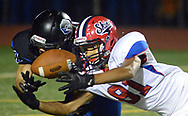 Neshaminy's Logan Williamson (81) breaks up a pass intended for Central Bucks South's Collin Dompert (10) in the third quarter Friday, October 06, 2017 at Central Bucks South in Warrington, Pennsylvania. (WILLIAM THOMAS CAIN / For The Philadelphia Inquirer)