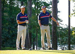 Auburn head football coach Gus Malzahn and Former Auburn pitcher Tim Hudson on the first tee during the Chick-fil-A Peach Bowl Challenge at the Ritz Carlton Reynolds, Lake Oconee, on Monday, April 30, 2019, in Greensboro, GA. (Paul Abell via Abell Images for Chick-fil-A Peach Bowl Challenge)
