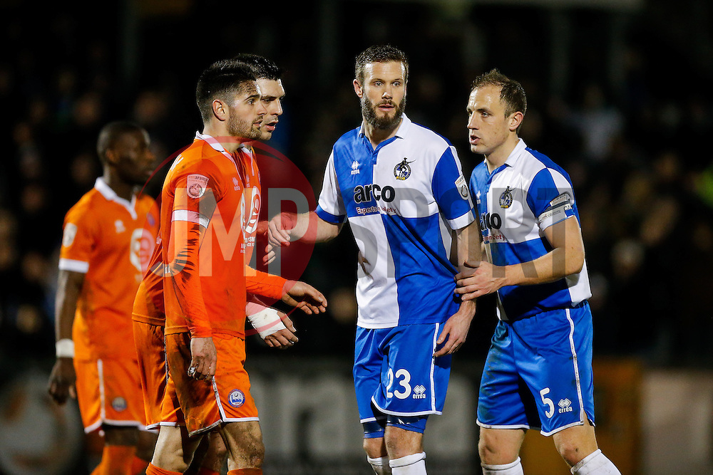 Andy Monkhouse and Mark McCrystal of Bristol Rovers look on - Photo mandatory by-line: Rogan Thomson/JMP - 07966 386802 - 24/02/2015 - SPORT - FOOTBALL - Bristol, England - Memorial Stadium - Bristol Rovers v Braintree Town - Vanarama Conference Premier.