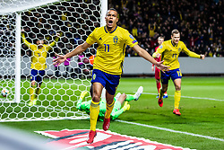 March 23, 2019 - Stockholm, Sweden - ROBIN QUAISON of Sweden celebrates after scoring the 1-0 goal against Romania during their UEFA Euro Qualifier football match. (Credit Image: © Mathilda Ahlberg/Bildbyran via ZUMA Press)