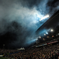 The fireworks smoke drifts away during the 2017 DHL Lions Series rugby union match between the NZ Maori and British & Irish Lions at FMG Stadium in Hamilton, New Zealand on Tuesday, 20 June 2017. Photo: Dave Lintott / lintottphoto.co.nz
