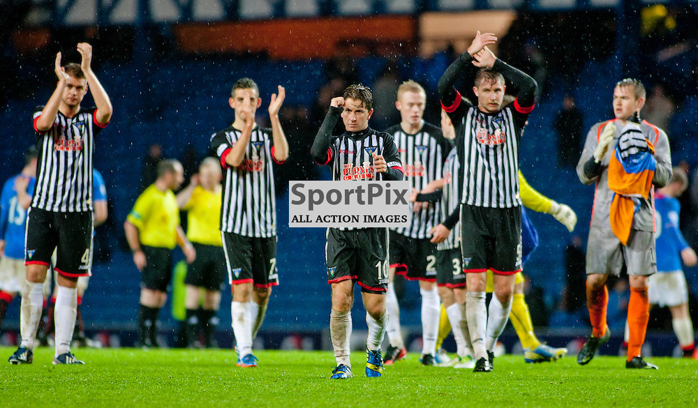Rangers v Dunfermline Athletic SPFL league one Ibrox 06 October 2013<br /> <br /> <br /> Dunfermline players appluad the traveling fans<br /> CRAIG BROWN | sportPix.org.uk