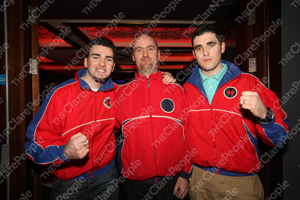 Bernard Mongan, Jim Ward and Michael Mongan pictured at the Clare GAA Boxing night in the Queens Hotel on Friday night.<br /> Pic. Brian Arthur/ Press 22.