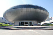 BINZHOU, CHINA - SEPTEMBER 20: <br /> <br /> Aerial view of UFO-shaped science museum opening on September 20, 2016 in Binzhou, Shandong Province of China. Citizens could experience 152 kinds of technology products in the UFO-shaped science museum, which had an area of 8,283 square meters. <br /> ©Exclusivepix Media