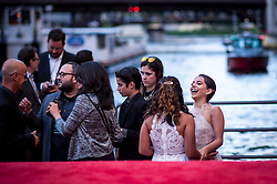 Isabela Moner laughs before walking the red carpet at the US Premier of 'Transformers: The Last Knight' on the Chicago River in front of the Civic Opera House on Tuesday June 20, 2017 in Chicago, IL. Photo: Christopher Dilts / Sipa USA *** Please Use Credit from Credit Field ***