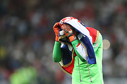 MOSCOW, July 11, 2018  Goalkeeper Danijel Subasic of Croatia celebrates victory after the 2018 FIFA World Cup semi-final match between England and Croatia in Moscow, Russia, July 11, 2018. Croatia won 2-1 and advanced to the final. (Credit Image: © Cao Can/Xinhua via ZUMA Wire)