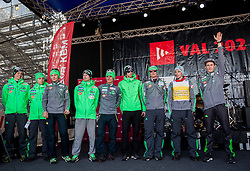 Matjaz Pungertar, Cene Prevc, Anze Lanisek, Domen Prevc, Rok Justin, Anze Semenic, Andraz Pograjc, Robert Kranjec and Peter Prevc at concert of Mi2 music group at VAL 202 tent after Ski Flying Hill Individual Competition at Day 4 of FIS Ski Jumping World Cup Final 2016, on March 20, 2016 in Planica, Slovenia. Photo by Vid Ponikvar / Sportida