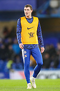 Chelsea defender Andreas Christensen (27) warms up prior to the The FA Cup fourth round match between Chelsea and Sheffield Wednesday at Stamford Bridge, London, England on 27 January 2019.