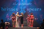 Britney Spears is pictured on the catwalk during a Lingerie Fashion Show to promote her new Intimate range