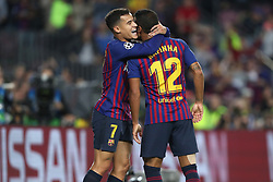 October 24, 2018 - Barcelona, Spain - Barcelona, Spain, October 24, 2018: Rafinha Alcantara of FC Barcelona celebrates  with Philippe Coutinho after scoring his side's opening goal during the UEFA Champions League, Group B football match between FC Barcelona and FC Internazionale on October 24, 2018 at Camp Nou stadium in Barcelona, Spain (Credit Image: © Manuel Blondeau via ZUMA Wire)
