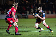 Dragons' Aaron Wainwright steps inside and runs at Worcester Warriors' Anton Bresler.<br /> <br /> Photographer Simon Latham/Replay Images<br /> <br /> Anglo-Welsh Cup Round Round 4 - Dragons v Worcester Warriors - Friday 2nd February 2018 - Rodney Parade - Newport<br /> <br /> World Copyright © Replay Images . All rights reserved. info@replayimages.co.uk - http://replayimages.co.uk