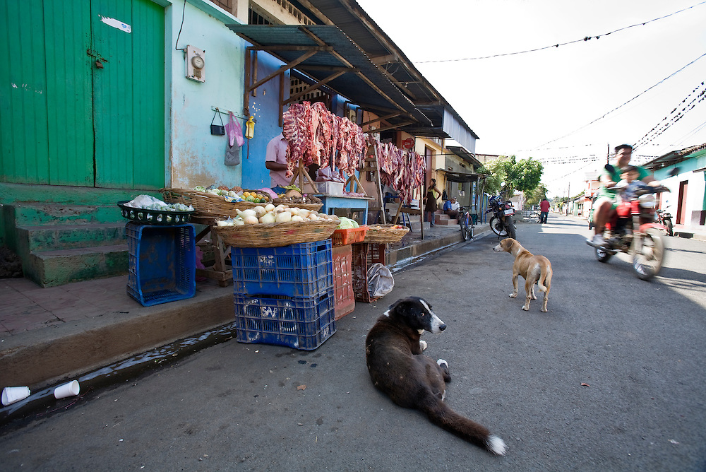 "Stray dogs lurk around the butchers stall in the market of Masatepe. Masatepe is one of the ""Los Pueblos Blancos, a series of towns on the central plateau of Nicaragua. It is located close to Granada, Nicaragua."
