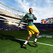 Green Bay Packers cornerback Damarious Randall (23) stretches before the NFL regular season game against the Denver Broncos on Sunday, Nov. 1, 2015 in Denver. The Broncos won, 29-10. (Ric Tapia via AP)