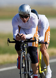 The University of Texas - Austin team of John Hatlelid, Michael Carey, Alex Gilliam, Frank Palmieri, Jordan Smothermon, and Scott Walker competes in the men's division 1 race.  The 2008 USA Cycling Collegiate National Championships Team Time Trial event was held near Wellington, CO on May 9, 2008.  Teams of 3 or 4 riders raced over a 20km out and back course that ran along a service road to Interstate 25.