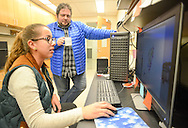 Rebecca Goncalves (left), 20 of Kearny, New Jersey  works on a computer as she speaks research advisor Asst. Professor Joseph Baker in the PERSIST program Thursday, November 10, 2016 at the College of New Jersey Science Building in Ewing, Pennsylvania.  The College of New Jersey has an NSF grant-funded program, PERSIST, to help low-income biology and chemistry students by giving them scholarships, peer and faculty mentors, mandatory weekly tutoring, additional freshman orientation, and workshops throughout the semester. (WILLIAM THOMAS CAIN / For The Philadelphia Inquirer)