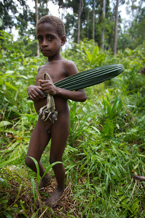 Here a young boy returns from the hunt with supper.West Papua is home to over 300 tribes. They have inhabited the island for more than 40,000 years. Many of the last remaining tribal cultures on our planet can be found in West Papua. An astounding 15% of the world's languages are spoken there, by just 0.01% of the global population.
