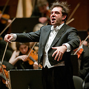 April 17, 2011 - Manhattan, NY : Daniele Gatti conducts the Orchestre National de France at Lincoln Center's Avery Fisher Hall on Sunday afternoon.    ..CREDIT: Karsten Moran for the New York Times.