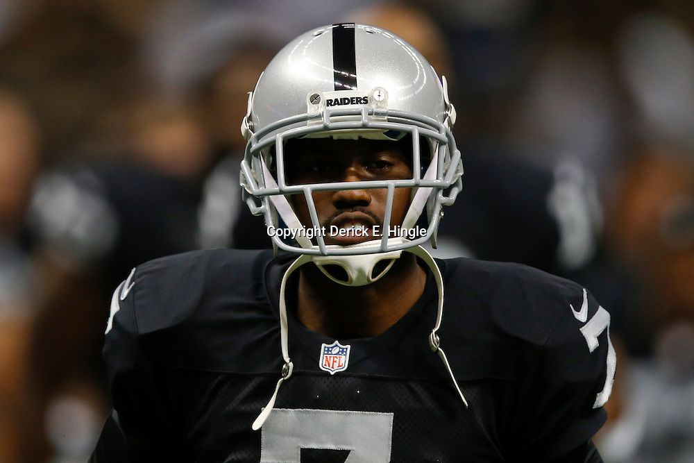 Aug 16, 2013; New Orleans, LA, USA; Oakland Raiders punter Marquette King (7) against the New Orleans Saints during the second quarter of a preseason game at the Mercedes-Benz Superdome. Mandatory Credit: Derick E. Hingle-USA TODAY Sports