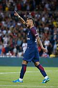 Neymar da Silva Santos Junior - Neymar Jr (PSG) celebrated it goal scored during the French championship L1 football match between Paris Saint-Germain (PSG) and Toulouse Football Club, on August 20, 2017, at Parc des Princes, in Paris, France - Photo Stephane Allaman / ProSportsImages / DPPI