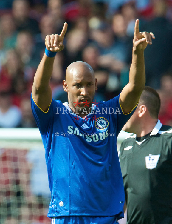 LONDON, ENGLAND - Sunday, May 10, 2009: Chelsea's Nicolas Anelka celebrates scoring the second goal against Arsenal during the Premiership match at the Emirates Stadium. (Photo by David Rawcliffe/Propaganda)