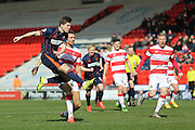 Blackpool forward Danny Philliskirk (17) with a volley  during the Sky Bet League 1 match between Doncaster Rovers and Blackpool at the Keepmoat Stadium, Doncaster, England on 28 March 2016. Photo by Simon Davies.