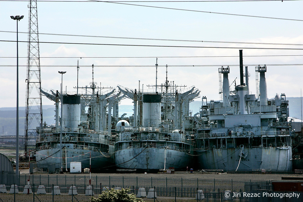 UK ENGLAND HARTLEPOOL 30MAY06 - Four US naval vessels lie moored at the Able UK yard on Teesside near Hartlepool. The first four of the redundant US navy reserve fleet is technically in British waters illegally after the Hartlepool dock where it was bound was revealed to have no planning permission for the breaking up of ships. ..jre/Photo by Jiri Rezac..© Jiri Rezac 2006..Contact: +44 (0) 7050 110 417.Mobile:  +44 (0) 7801 337 683.Office:  +44 (0) 20 8968 9635..Email:   jiri@jirirezac.com.Web:    www.jirirezac.com..© All images Jiri Rezac 2006 - All rights reserved.