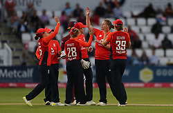 England's Anya Shrubsole traps West Indies Britney Cooper lbw for 0 during the Women's International T20, County Ground, Northampton.
