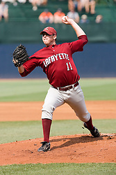 Lafayette Leopards LHP Matt Kamine (11) pitches against UVA.  The Virginia Cavaliers defeated the Lafayette Leopards 5-1 at Davenport Field in Charlottesville, VA.  The game, held on June 1, 2007 was the first of the NCAA World Series Regional.