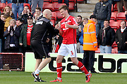 Jon Whitney congratulates Walsall defender Paul Downing after the Sky Bet League 1 match between Walsall and Southend United at the Banks's Stadium, Walsall, England on 16 April 2016. Photo by Chris Wynne.
