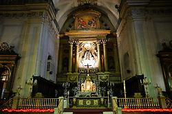 THEMENBILD - Madrid ist seit Jahrhunderten der geographische, politische und kulturelle Mittelpunkt Spaniens (siehe Kastilien) und der Sitz der spanischen Regierung. Hier residieren auch der König, ein katholischer Erzbischof sowie wichtige Verwaltungs- und Militärbehörden. Als Handels- und Finanzzentrum hat die Stadt nationale und internationale Bedeutung. Hier im Bild Altar der Kirche Iglesia de Nuestra Senora del Carmen y San Luis obispo, Spanisches Kulturerbe // THEMATIC PACKAGES - Madrid is the capital and largest city of Spain. The population of the city is roughly 3.3 million and the entire population of the Madrid metropolitan area is calculated to be around 6.5 million. It is the third-largest city in the European Union, after London and Berlin, and its metropolitan area is the third-largest in the European Union after London and Paris. The city spans a total of 604.3 km2. EXPA Pictures © 2014, PhotoCredit: EXPA/ Eibner-Pressefoto/ Weber<br /> <br /> *****ATTENTION - OUT of GER*****
