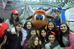 Official Mascotte with children at the 2nd day of  European Athletics Indoor Championships Torino 2009 (6th - 8th March), at Oval Lingotto Stadium,  Torino, Italy, on March 6, 2009. (Photo by Vid Ponikvar / Sportida)