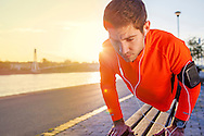 Men, Push-ups, Effort, Strength, Sports Training, Sunset,