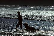 boy, man, dog, surf, waves, beach, Morro Bay, California