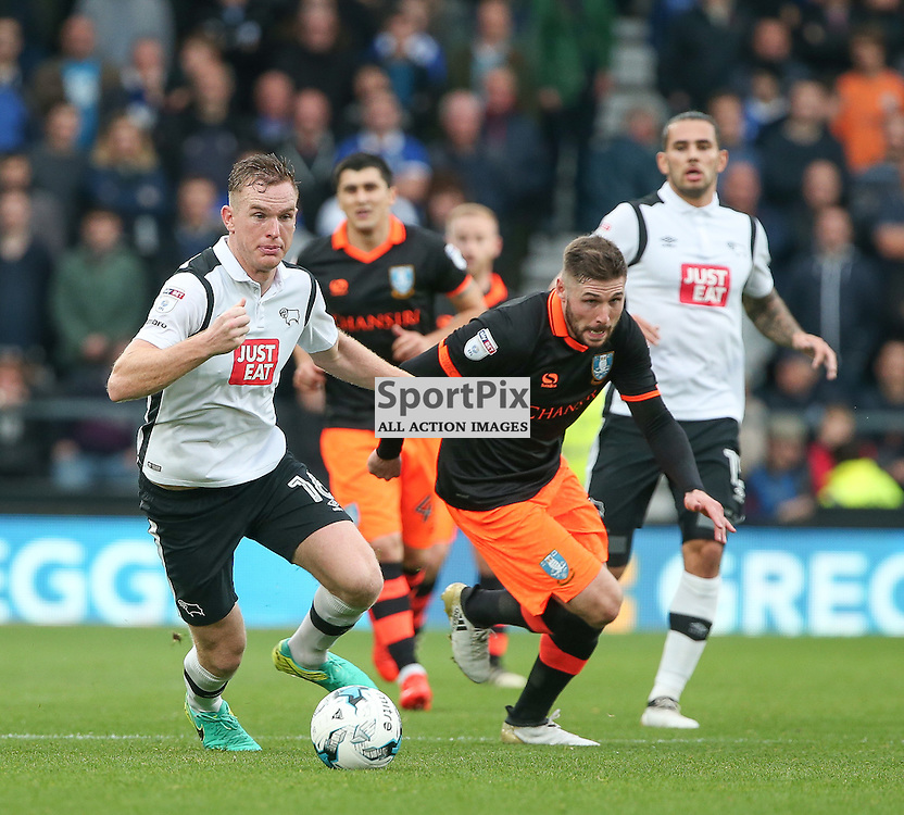 DERBY, UNITED KINGDOM 29 OCTOBER 2016:   Alex Pearce of Derby County chases for the ball during the league game between Derby County and Sheffield Wednesday in the Football League Championship at Pride Park Stadium, on October 29, 2016 in Derby, England. (Photo by Michael Poole)