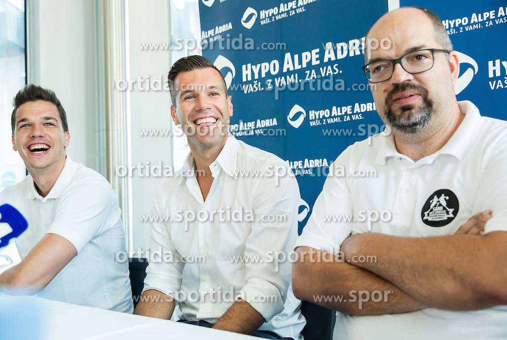 Jan Ternjak, Sani Becirovic, Mario Vracko during press conference after Sani Becirovic, Slovenian Basketball player ended his a long and successful career and started as Coach Assistant in Panathinaikos, on July 22, 2015 in Ljubljana, Slovenia. Photo by Vid Ponikvar / Sportida