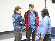 Hempstead, NY, USA. Oct. 30, 2017. After SYLVIO film screening and Q&A, (L-R) KENTUCKER AUDLEY & ALBERT BIRNEY chat with Prof. WILLIAM JENNINGS at Hofstra University.