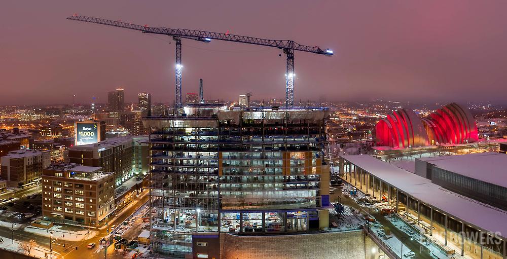 Loews Hotel under construction in downtown Kansas City, Missouri, January 2019.