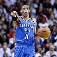 16 March 2011: Oklahoma City Thunder point guard Russell Westbrook (0) sets the offense during the Oklahoma City Thunder 96-85 victory over the Miami Heat at the AmericanAirlines Arena, Miami, Florida, USA.