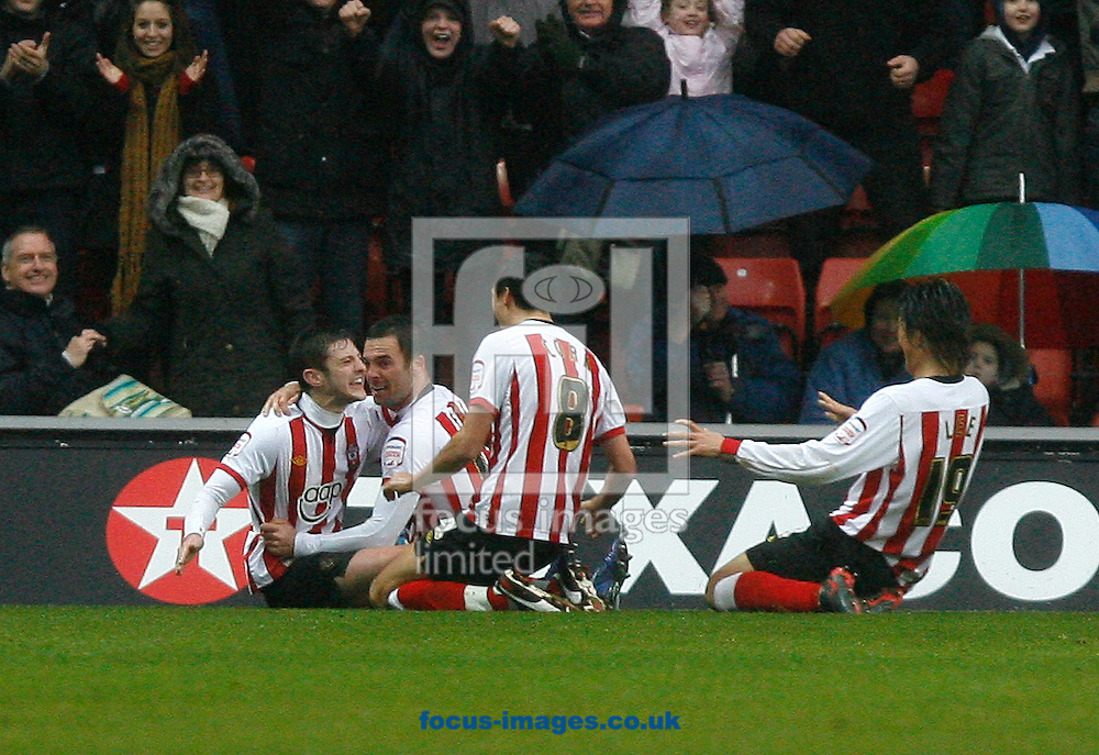 Picture by Daniel Chesterton/Focus Images Ltd. 07966 018899.18/02/12.Adam Lallana of Southampton celebrates Southampton's third goal during the Npower Championship match at St Mary's stadium, Southampton.