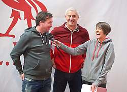 LIVERPOOL, ENGLAND - Friday, April 10, 2015: Former Liverpool players Robbie Fowler and Ian Rush on stage with LFCTV's Claire Rourke during the launch for the New Balance 2015/16 home kit at Anfield. (Pic by David Rawcliffe/Propaganda)