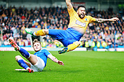 An early foul on Mansfield Town forward Kane Hemmings (23) during the EFL Sky Bet League 2 match between Chesterfield and Mansfield Town at the Proact stadium, Chesterfield, England on 14 April 2018. Picture by Nigel Cole.