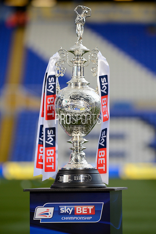 Sky Bet Championship trophy on view during the Sky Bet Championship match between Birmingham City and Middlesbrough at St Andrews, Birmingham, England on 29 April 2016. Photo by Alan Franklin.