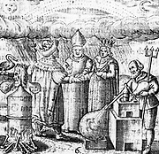 The Sixth Key of Basil Valentine, legendary 15th century German monk, showing the marriage of the alchemical king (gold) and queen (silver) and the process of distillation in furnace using an alembic in water bath or bain marie. From 'Von dem grossen Stein Uhralten' by Basil Valentine (Strasbourg, 1651). Engraving.