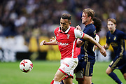 SOLNA, SWEDEN - JULY 27: Ahmed Hassan of SC Braga and Daniel Sundgren of AIK competes for the ball during the UEFA Europa League Qualifying match between AIK and SC Braga at Friends arena on July 27, 2017 in Solna, Sweden. Photo by Nils Petter Nilsson/Ombrello